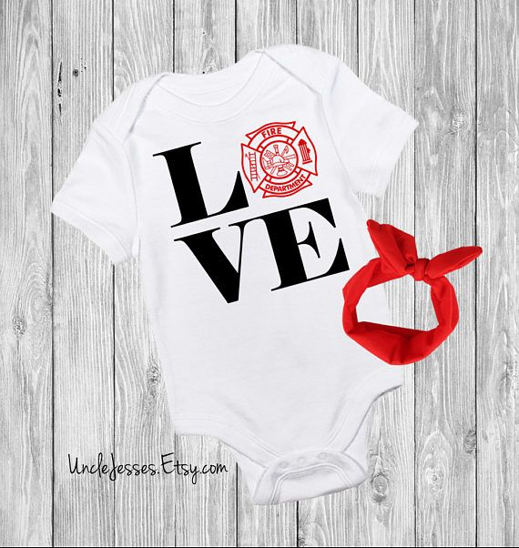 LOVE Baby One Piece W/ Headband Option- Fire Fighter Dad, Daddy Is My Hero, Not All Heroes Wear Capes, All Give Some Some Give All By UncleJesses Clothing Unisex Kids' Clothing Bodysuits Hometown Hero Fireman Police Officer Public Servant Sons First Hero My dad is a hero future firefighter firefighter daughter firefighter son unisex baby clothes daddy firefighter fireman baby Cute Baby Onesie