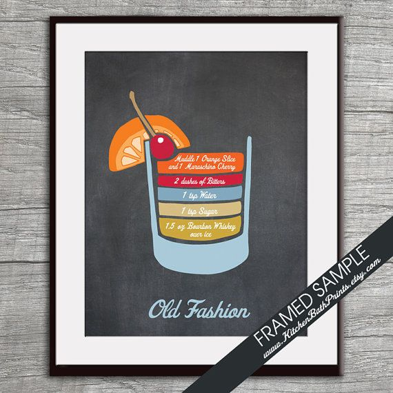 Old Fashion Recipe Diagram (Bourbon Whiskey Martini Cocktail)  Art Print (Featured Vintage Chalkboard) Cocktails and Mixers Recipe Chart