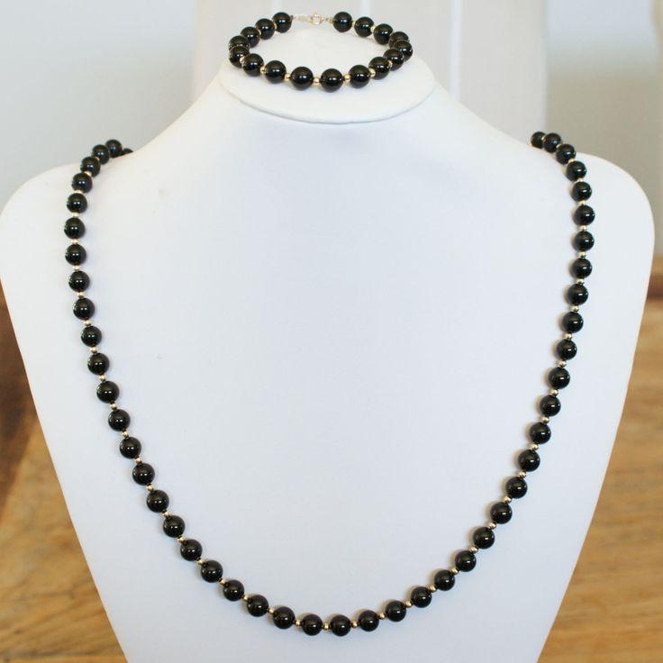 c1980s Vintage 14k Gold Onyx & Gold Ball Bead Necklace Bracelet Set by VintageJewelleryCo on Etsy