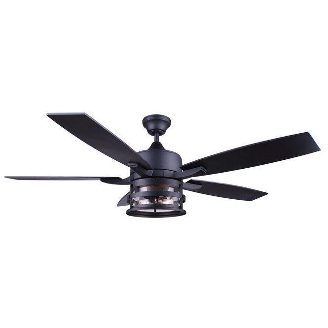 Vintage Cylinder Seeded 52 Ceiling Fan Black Ceiling Fan Rustic Ceiling Fan Ceiling Fan