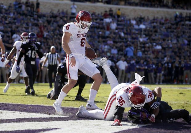 Oklahoma's Baker Mayfield (6) scores a touchdown during a college football game between the University of Oklahoma Sooners (OU) and theTCU Horned Frogs at Amon G. Carter Stadium in Fort Worth, Texas, Saturday, Oct. 1, 2016. Oklahoma won 52-46. Photo by Bryan Terry, The Oklahoman