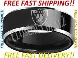 Oakland Raiders, Los Angeles Raiders, Las Vegas Raiders Themed Wedding Band We have an extensive inventory of sports themed wedding bands available for purchase at our online store. Visit today and plug your favorite sports team into the search bar to view our ever growing inventory!