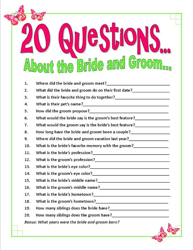 Wedding shower question game