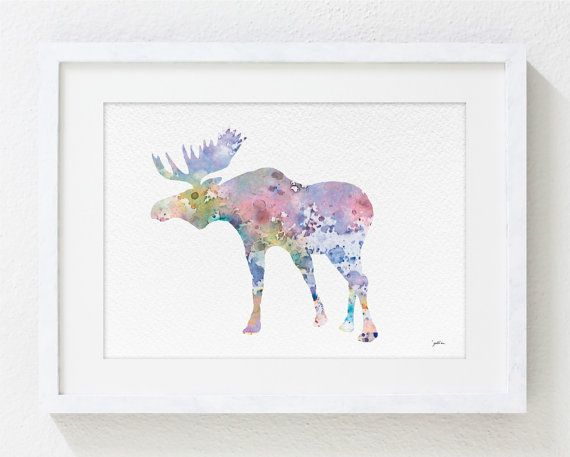 Elk Art Watercolor Painting - 8x10 Archival Print - Colorful Art Moose Antler Bull Silhouette Home Decor Wall Art
