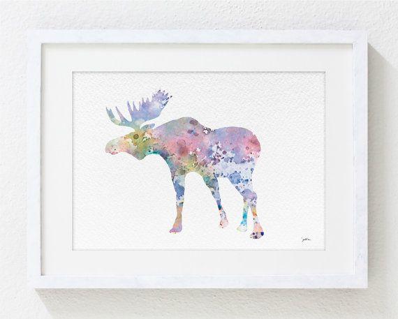Blue Moose Art Watercolor Painting - 5x7 Archival Print - Moose Art Print, Elk Print - Pink and Teal Silhouette Art