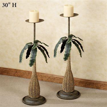 Banana Leaf Palm Tropical Floor Candleholder