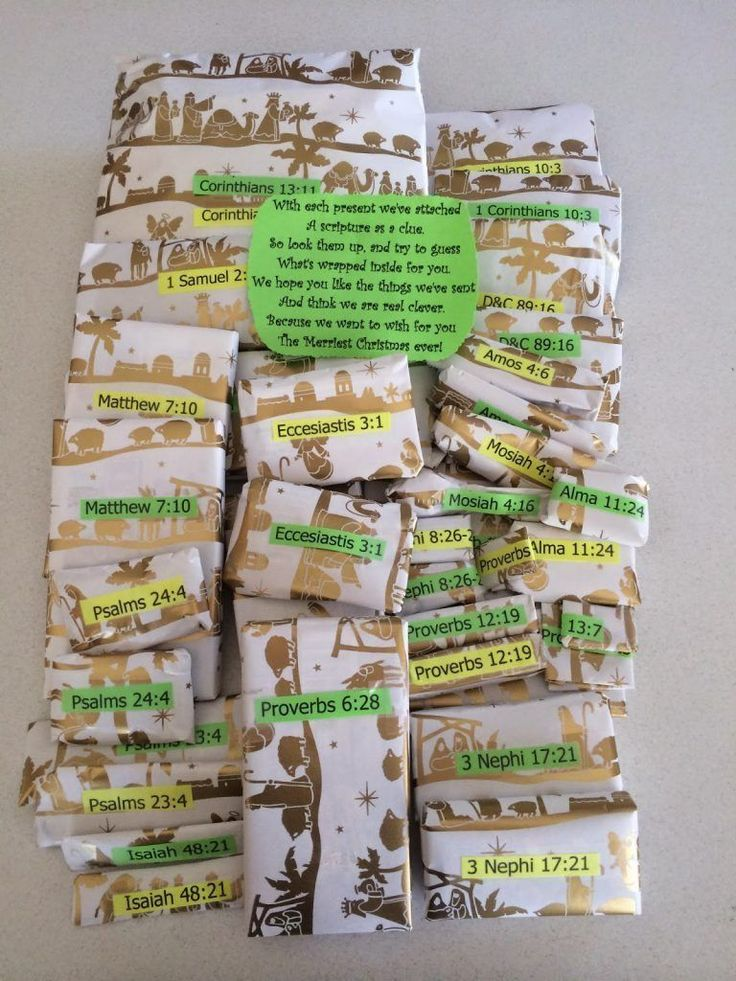 """My mom is the best missionary mom ever! She made these for my little brother and sister who are on missions right now and I thought it was such a great idea I just had to share!  Poem:  With each present we've attached A scripture as a clue. So look them up, … Continue reading """"Scripture Themed Missionary Christmas Gifts"""""""