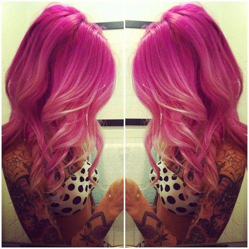 Dark pink hair into lighter pink ombre | Hair | Pinterest ...