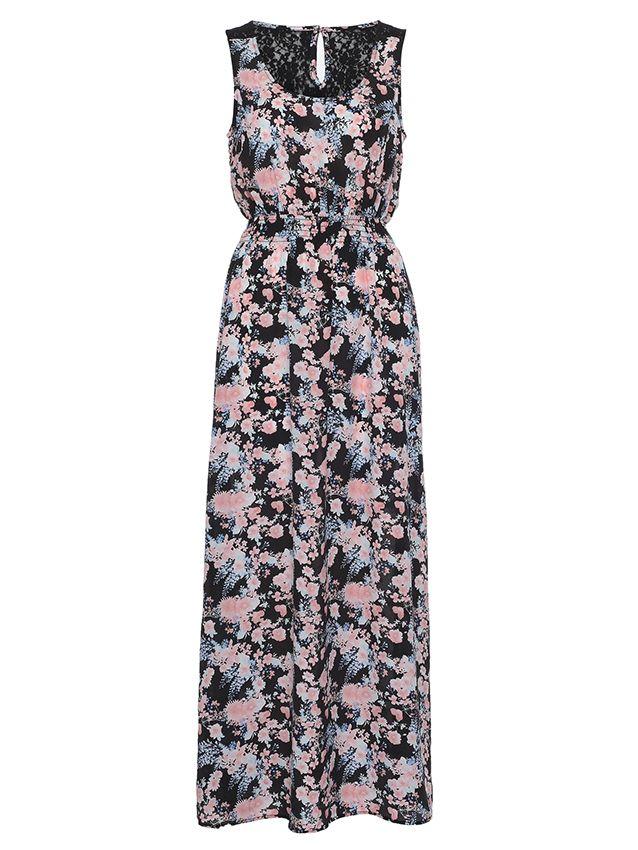 'Orchid' Silk Printed Maxi Dress