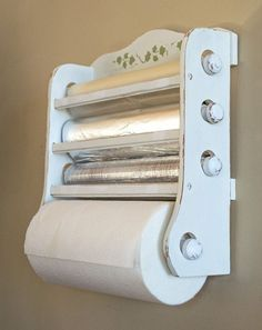 Shabby Chic Kitchen Dispenser / Wax Paper, Foil, Plastic Wrap, Paper Towels / Hand Painted Distressed White