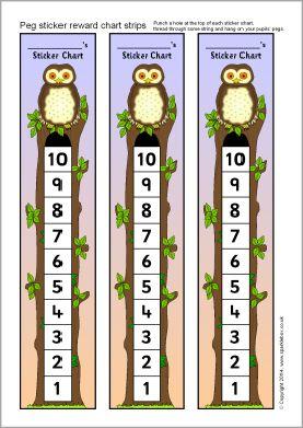 Owl-themed peg sticker reward chart strips (SB10873) - SparkleBox