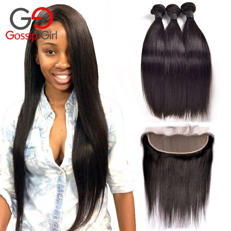 Telinga Ke Telinga Lace Frontal Penutupan Dengan Bundel Top 7A brasil Perawan Rambut Dengan Penutupan Rambut Lurus Dengan Penutupan Manusia rambut
