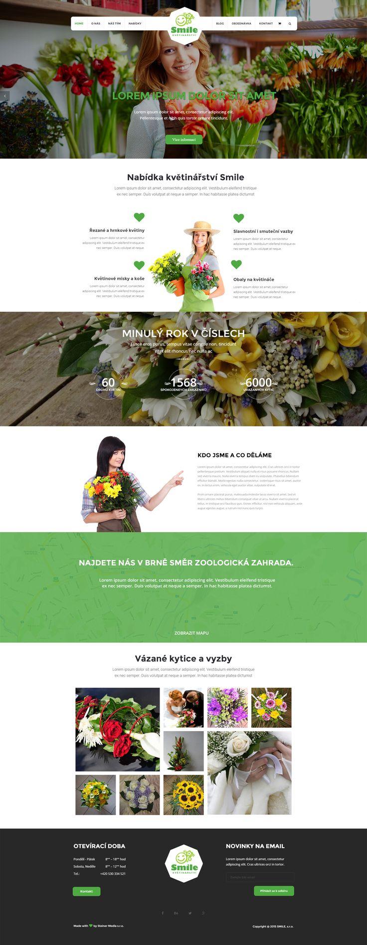 Web s prodejem květin pro majitele Smile. Made with ♥ in Brno by Steiner Media