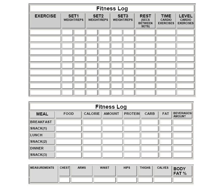 food and exercise journal template - fitness log sheets and more meal log sheets workout