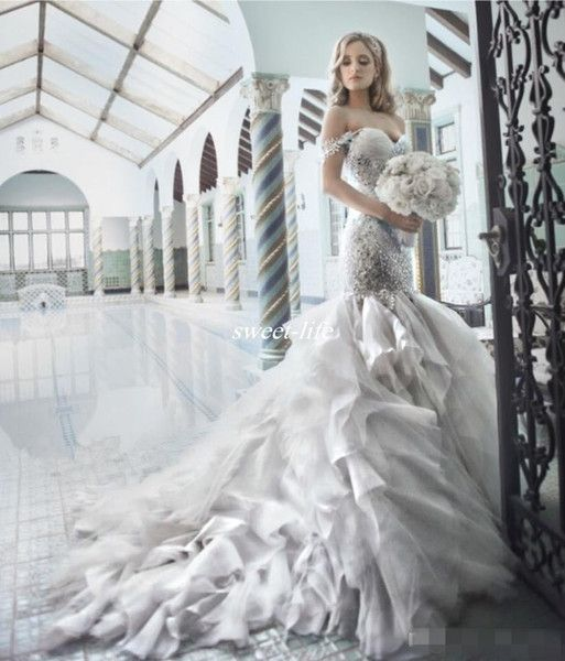 Pnina Tornai 2019 Rhinestone Mermaid Wedding Dresses With Sweetheart Off The Shouler Backless Crystal Tulle Luxury Bridal Gowns Hot Glamorous Mermaid Wedding Dresses Mermaid Dress Wedding Dress From Sweet Life, $204.03| DHgate.Com