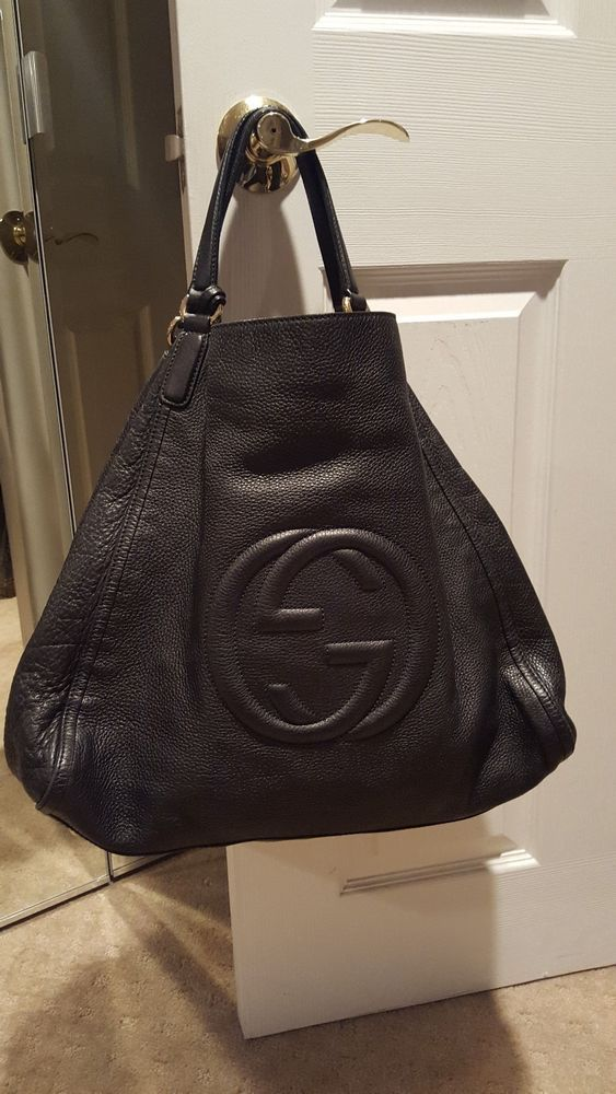 840596108ee2 AUTH. GUCCI BLACK LEATHER SOHO XL TOTE BAG-GORGEOUS   Designer ...