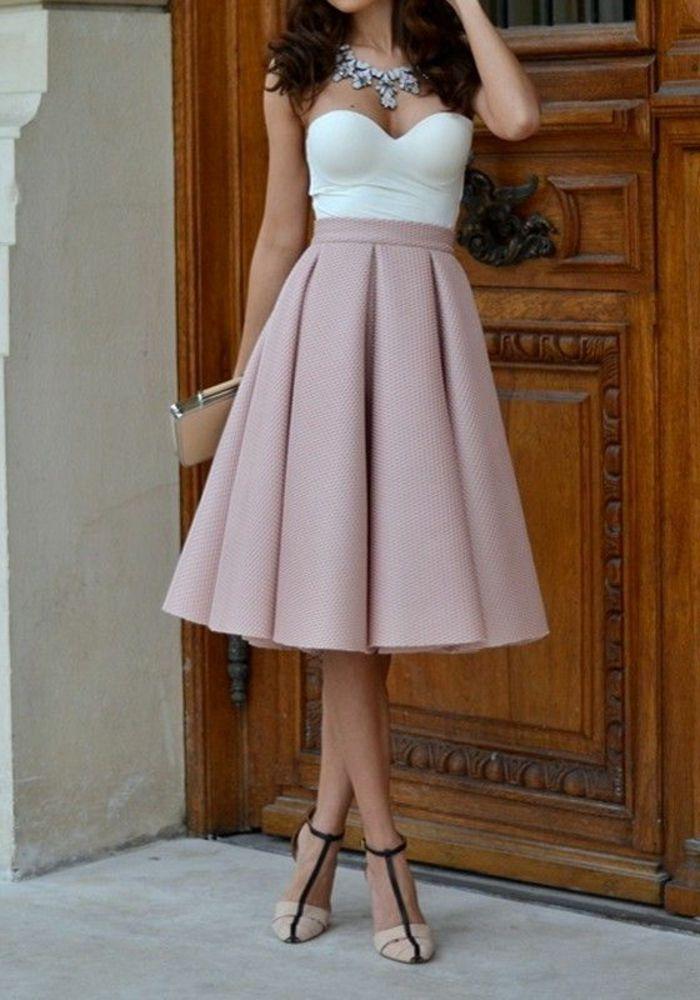 Jupe parapluie rose pale top blanc
