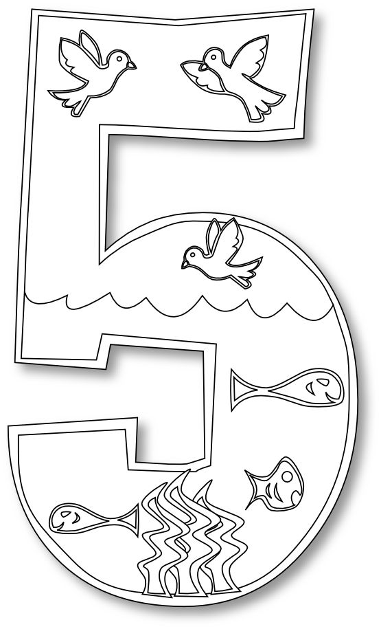 Creation Day 5 Number Ge 2 Coloring Book Colouring Black White Line Art