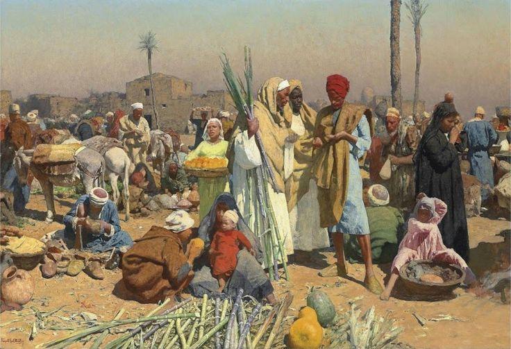 1Leopold Carl Muller (German, 1834-1892). Market in lower Egypt. Oil on canvas. 100 x 145.5 cm