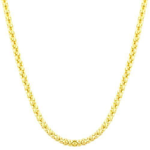 Gold Over Sterling Silver Popcorn Chain (18 inch) Kooljewelry. $19.99. This sterling silver necklace makes a great gift idea for any occasion. Weighs 6.3 gram(s). Crafted in sterling silver. Comes with a comfortable lobster claw clasp closure