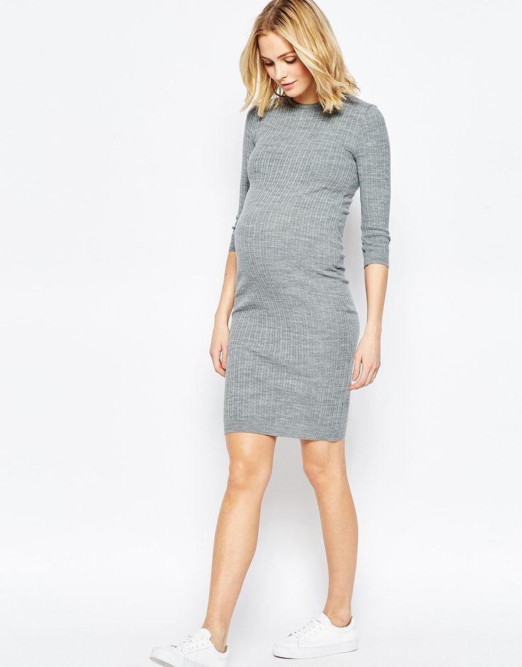 #Asos #ASOS Maternity Rib Knitted Dress #grey