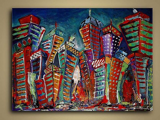 8th grade art projects | Cityscape Abstract