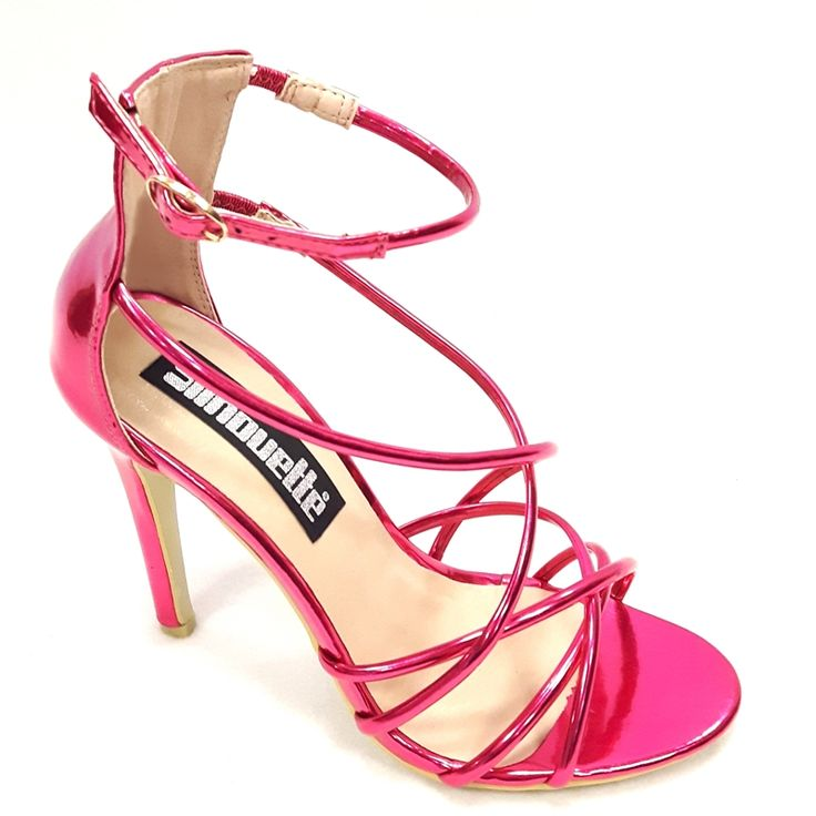 Deze fuchsia roze hoge open sandaaltjes hebben veel smalle bandjes en een naaldhak. Met deze schoentjes met hoge hakken steel jij de show op jouw feest!