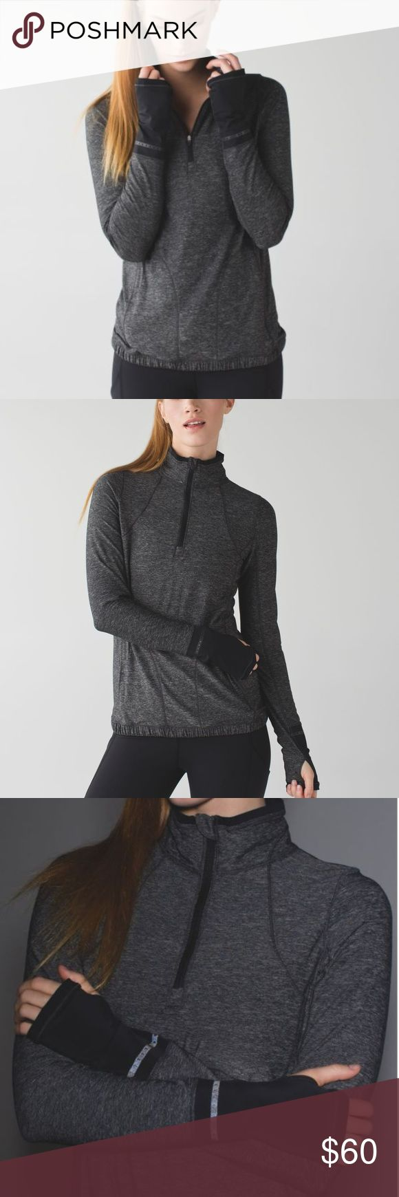Lululemon Gray Pace Pusher Half 1/2 Zip Up Sz 2 Like New  Lululemon Heathered Gray Pace Pusher Half Zip Up  Subtle reflectivity in this sweat-wicking layer helps keep us visible on dawn and dusk runs. This top's barely-there feel keeps us covered without weighing us down. Run on.  Light Luon® fabric is sweat-wicking and four-way stretch LYCRA® fibres add great shape retention thumbholes help keep sleeves down while you run front zip pocket keeps your small valuables secure 1/2 zipper and a…