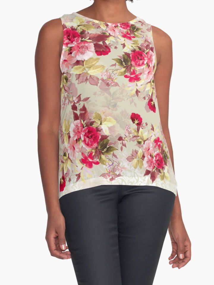 Vintage Roses by RIZA PEKER #women #fasfion #tank #top #floral #summer #style #girls