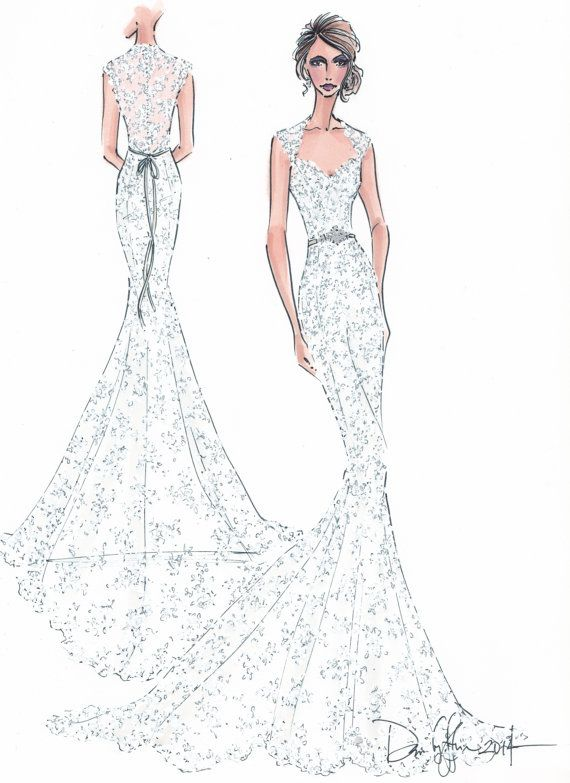 Custom Wedding Gown Illustration Front And By