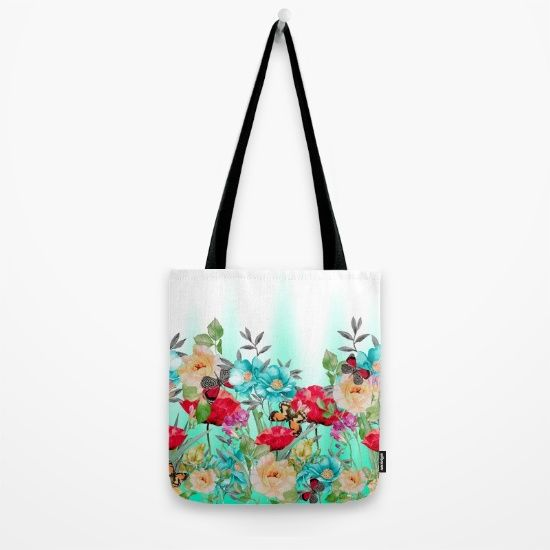 Our quality crafted Tote Bags are hand sewn in America using durable, yet… #flowers #art #butterflies #homedecor