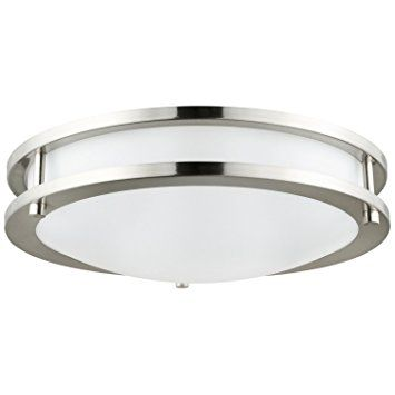 Sunlite DCO12/E/SN 12-Inch Energy Saving Decorative Band Trim Ceiling Fixture Satin Nickel Finish with White Glass