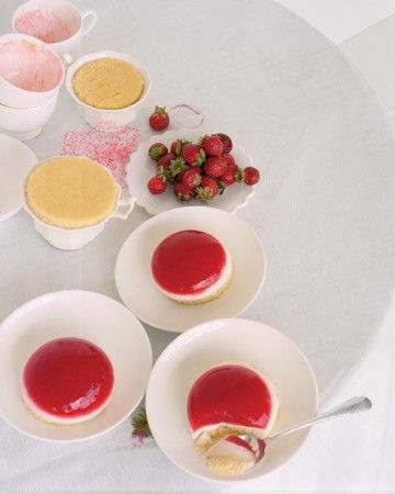 The flavors of classic strawberry shortcake take on a new and dainty form in these layered desserts. Assemble individual servings in teacups, beginning with a layer of strawberry gelatin, followed by vanilla panna cotta, and then a circle of pound cake. Invert the teacups to unmold the jellies and serve them with fresh strawberries.