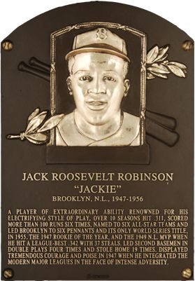 Jackie Robinson (whose plaque is shown here) was elected to the Baseball Hall of Fame on January 23, 1962. Fifty years ago!