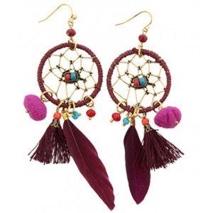 Dromenvanger paars oorbel earrings oorbellen sieraden purple jewelry dreamcatcher