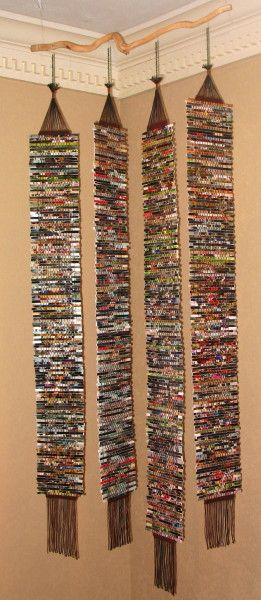 Weaving with cotton and shredded old photographs