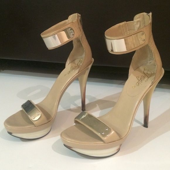 Fergie Sandals 2-strap sandals with small platform. Nude with silver hardware covering straps. Heel has white/brown details. Fergie Shoes Sandals