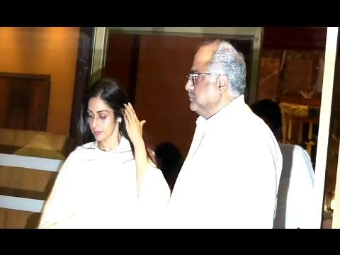 Sridevi & Boney Kapoor at Aishwarya Rai's father Krishnaraj Rai's prayer meet.
