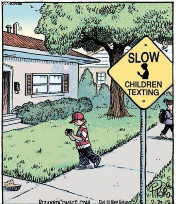 Children Texting A cartoon with kids walking around texting by a road sign  that says,
