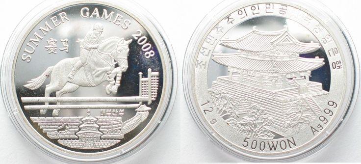 2007 Nordkorea NORTH KOREA 500 Won 2007 Horse jumping OLYMPIC GAMES Proof SCARCE! # 95642 Proof