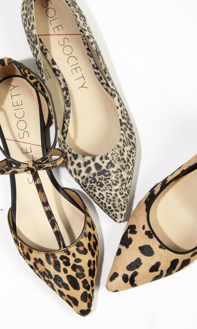 Soft suede animal printed flats with lots of straps, a pointed toe and adjustable ankle strap closure.