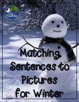 Matching sentences, real pictures, winter, speech therapy, comprehension, early reading, matching pictures, interactive, Velcro, expressive and receptive language, autism, task box workMatching sentences to pictures for winter uses real pictures to match
