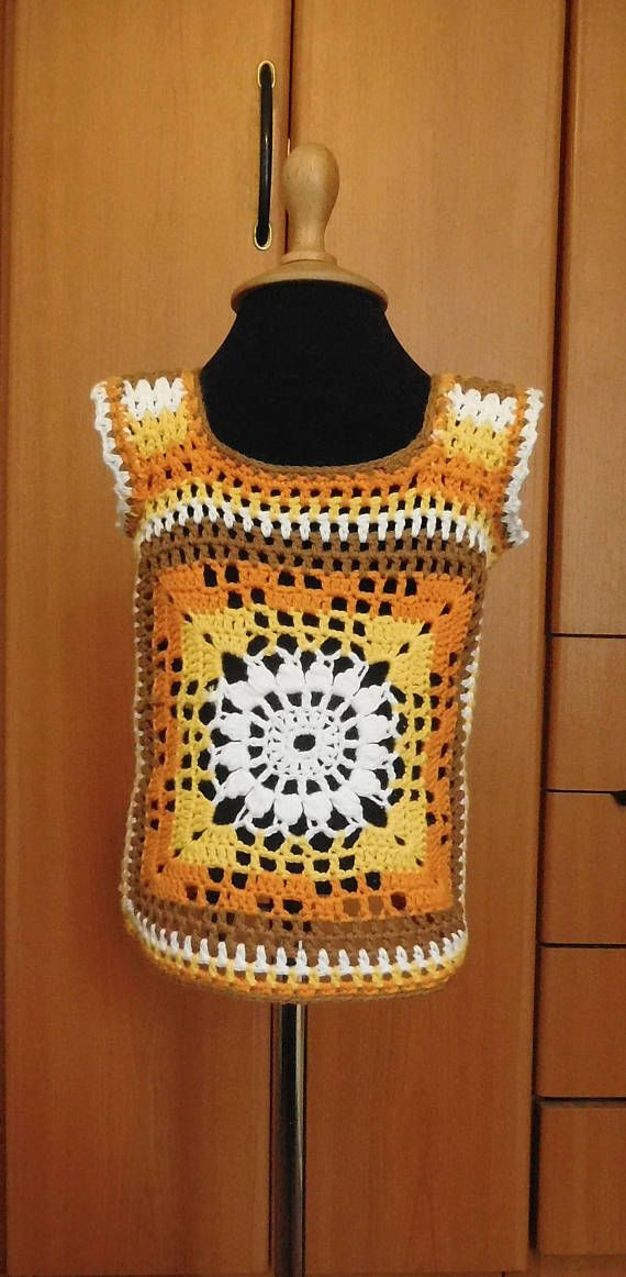 DESCRIPTION >> 100% Hand crocheted item(s) >>Item(s) made out of 100% cotton yarn >>Item color: white-yellow-orange-brown >>Soft >>Hand wash with care >>Iron at medium temperature >>Only dry flat MEASUREMENTS Length: 13 2/3 in (35 cm) Chest: 20 1/2in (52 cm) COLOR White-yellow-orange-brown.