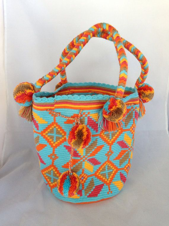 Handmade Large Multi-Colored Braided Handle Wayuu Mochila - LB308