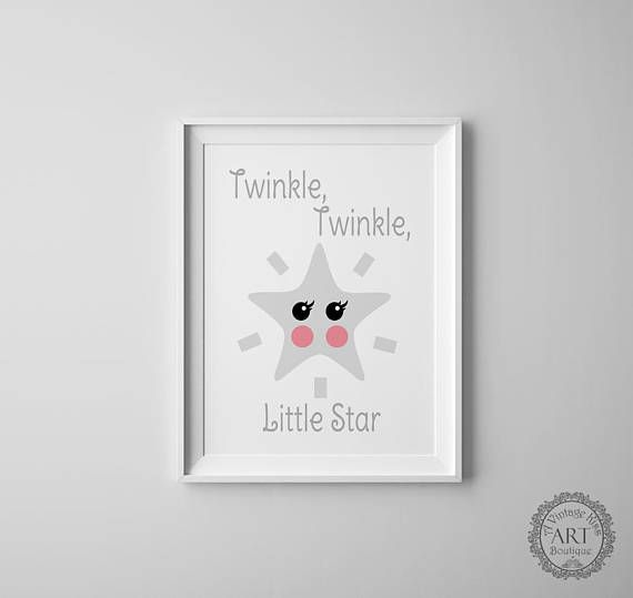 Nursery Art Print, Printable, Twinkle Twinkle Little Star, Gray and Pink, Baby Nursery, Baby Gift www.etsy.com/ca/listing/535866774/gray-and-pink-baby-nursery-art-prints