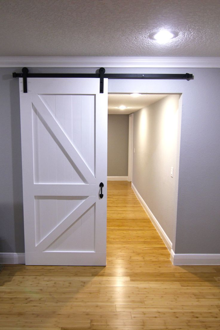 Sliding barn door painted white, solid wood construction ...