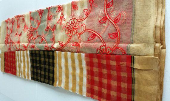 Designer Saree indien coton Organza saris/noir rouge blanc/or