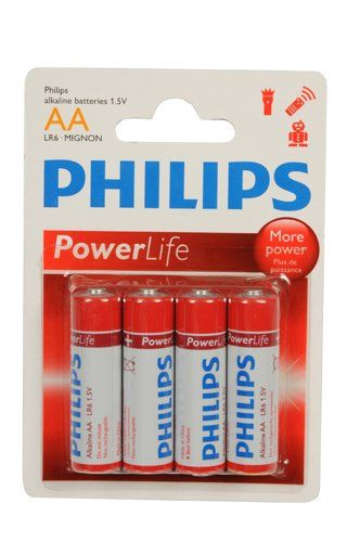4-Pack Philips Power Alkaline Batterijen (AA LR6-Mignon 1.5V)