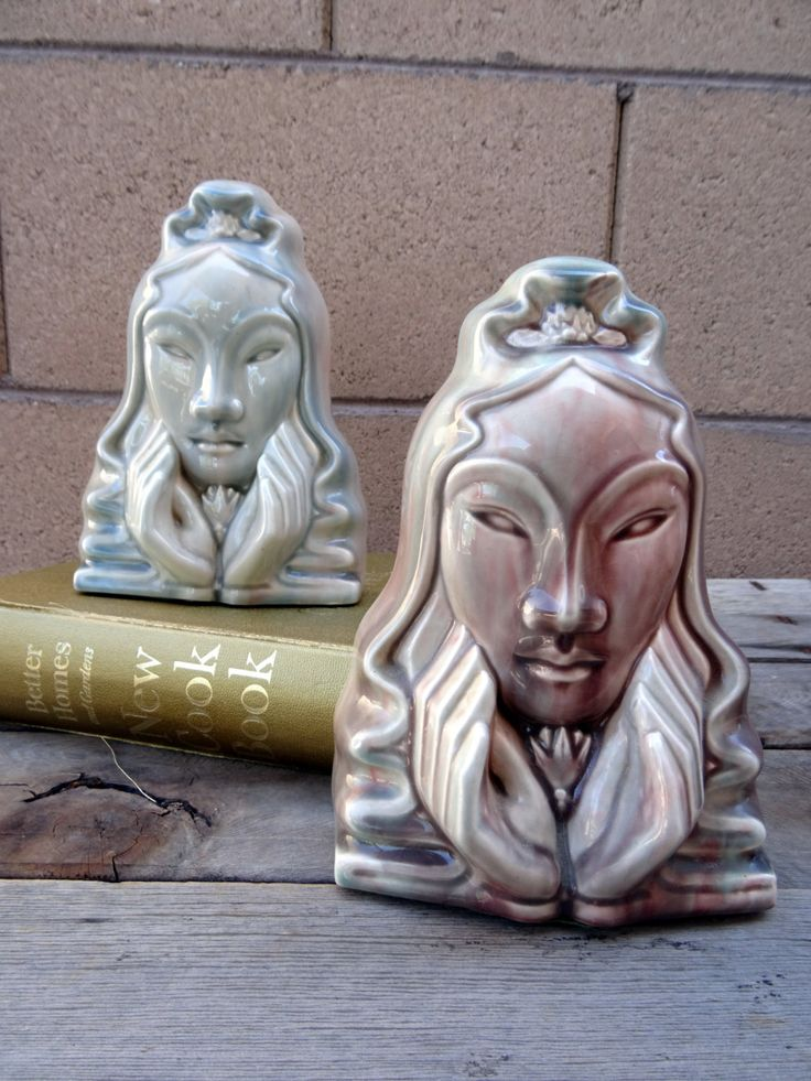 Vintage  Pottery Asian, Thai, Chinese Woman Bookends, Jadeite Rose Glazed Asian Bookends by TiesofMyFather on Etsy