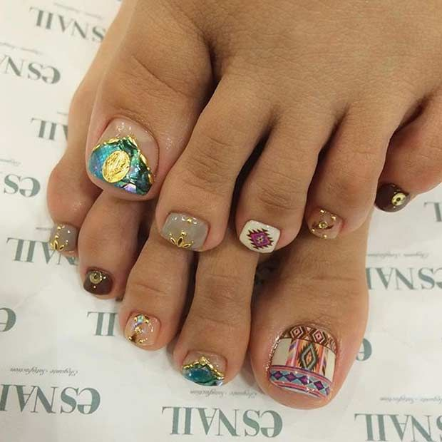 Tribal Toe Nail Design for Summer